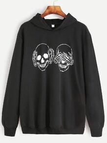 Sweat-shirt à capuche imprimé crâne -noir