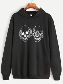 Black Skull Print Hooded Sweatshirt