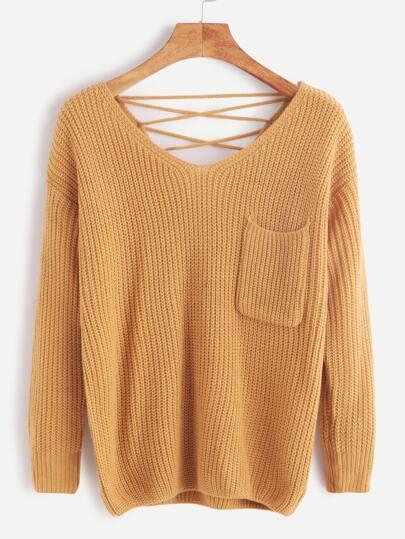 Khaki V Neck Lace Back Pocket Front Sweater