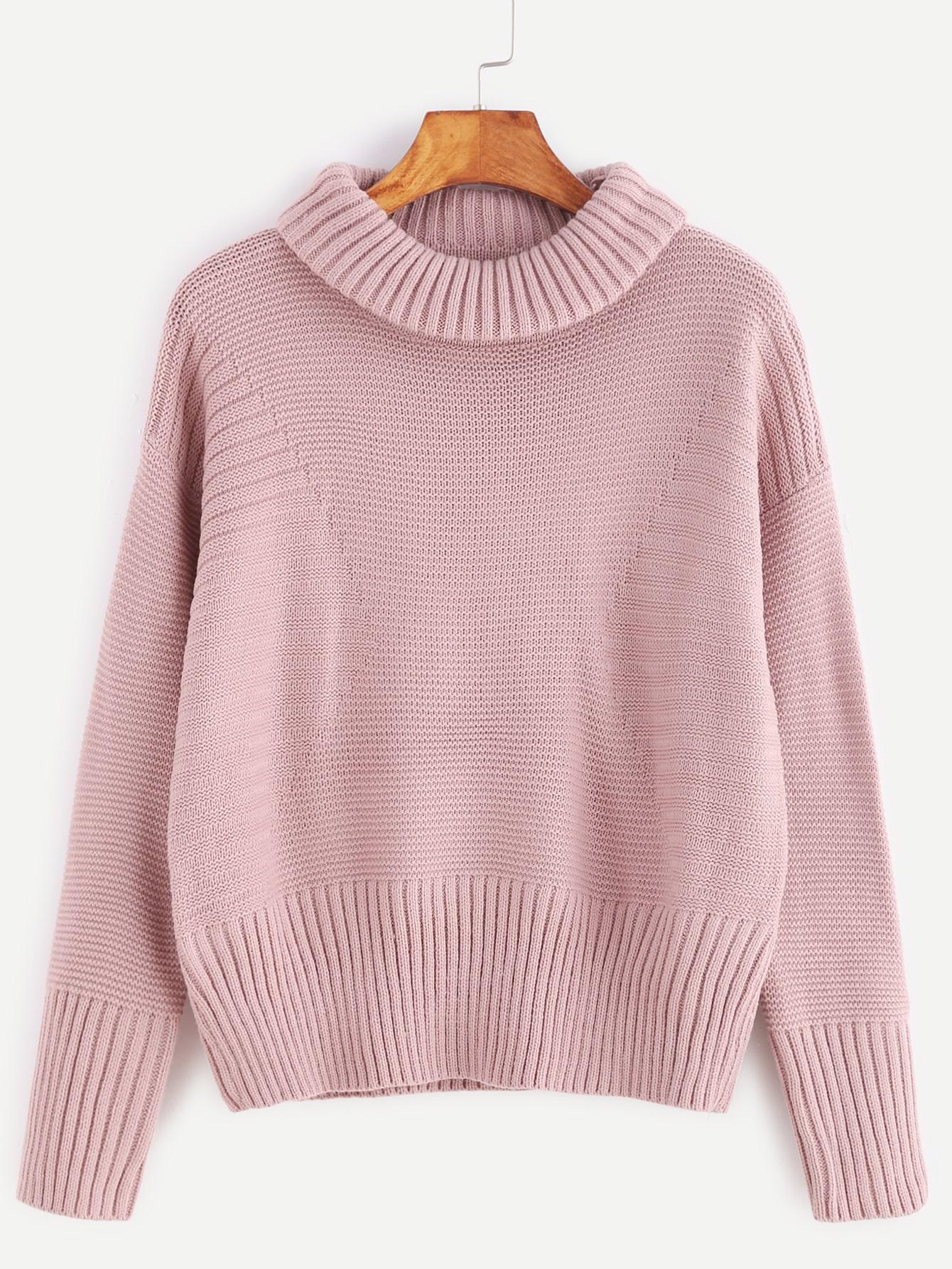 Pink Roll Neck Drop Shoulder Ribbed Knit Trim Sweater