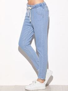 Light Blue Tie Waist Rolled Hem Jeans