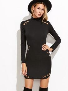 Mock Neck Metal Eyelet Curved Hem Bodycon Dress