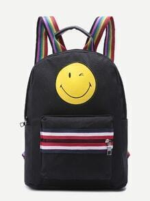 Smiling Face Zip Front Canvas Backpack With Rainbow Strap