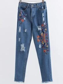 Blue Embroidery Ripped Raw Hem Jeans