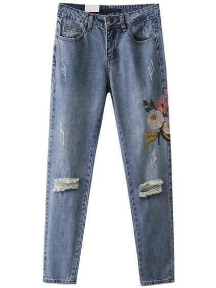 Blue Flower Embroidery Ripped Jeans