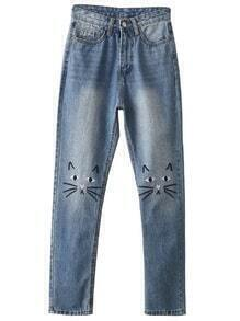 Blue Cat Embroidery Skinny Jeans
