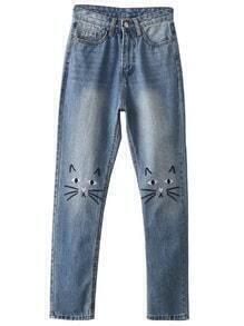 Skinny Jeans mit Katzen Stickereien -blau