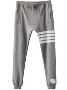 Grey Striped Detail Drawstring Waist Pants