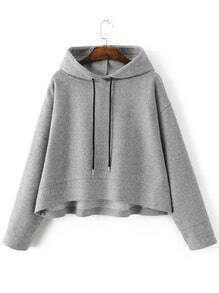 Grey Drawstring Hooded Crop Sweatshirt