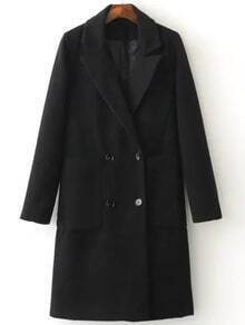 Black Double Breasted Coat With Pocket
