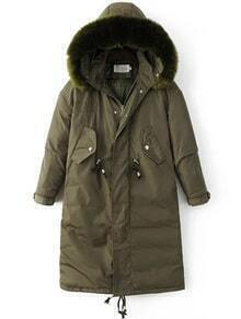 Abrigo acolchado con capucha de piel sintética - verde militar