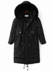 Black Drawstring Hooded Padded Coat With Faux Fur