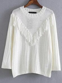 White Round Neck Fringe Detail Sweater