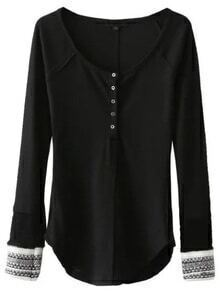 Jersey con botones y ribete redondeado - negro
