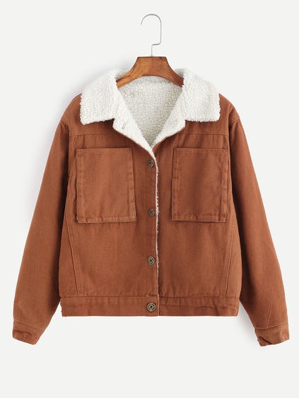 Khaki Single Breasted Sherpa Lined Jacket