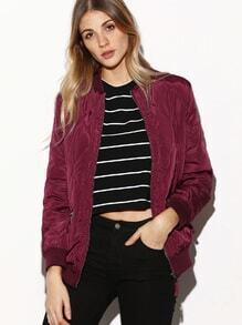 Burgundy Contrast Ribbed Trim Quilted Bomber Jacket