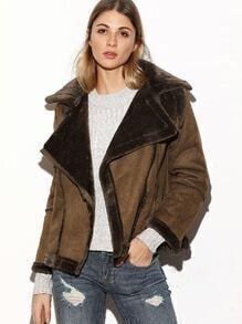 Abrigo con piel de oveja de ante con cremallera - kaki