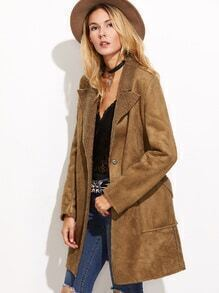 Camel Covered Button Pockets Suede Coat