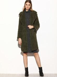 Army Green Lapel Covered Button Pockets Coat