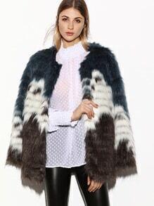 Color Block Faux Fur Coat