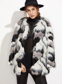 Patchwork Open Front Faux Fur Coat