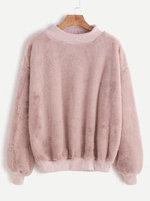Contrast Ribbed Trim Drop Shoulder Fluffy Sweatshirt