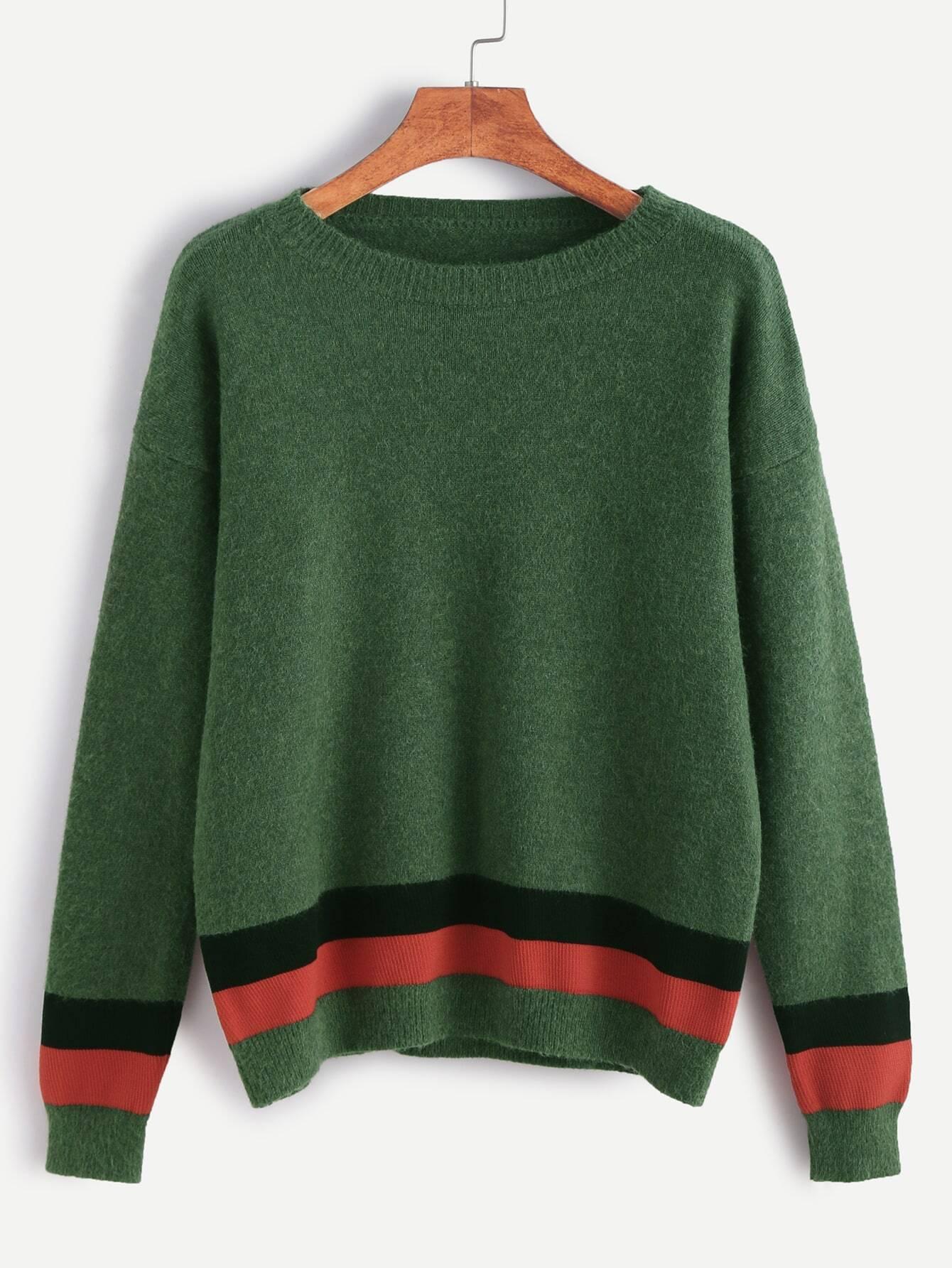 Green Drop Shoulder Striped Trim Sweater