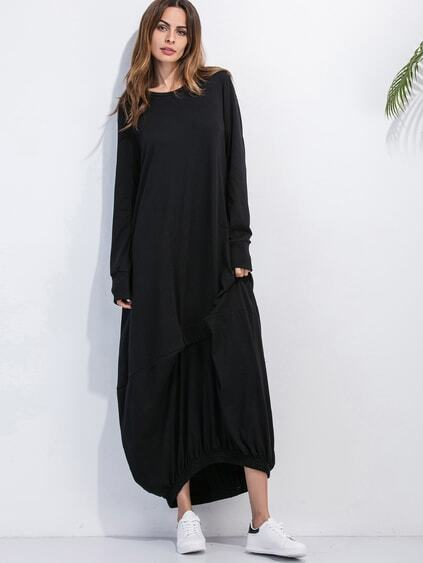 Black Elastic Hem Shift Dress