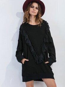 Vestido sudadera con hombro caído con flecos y pompones - negro