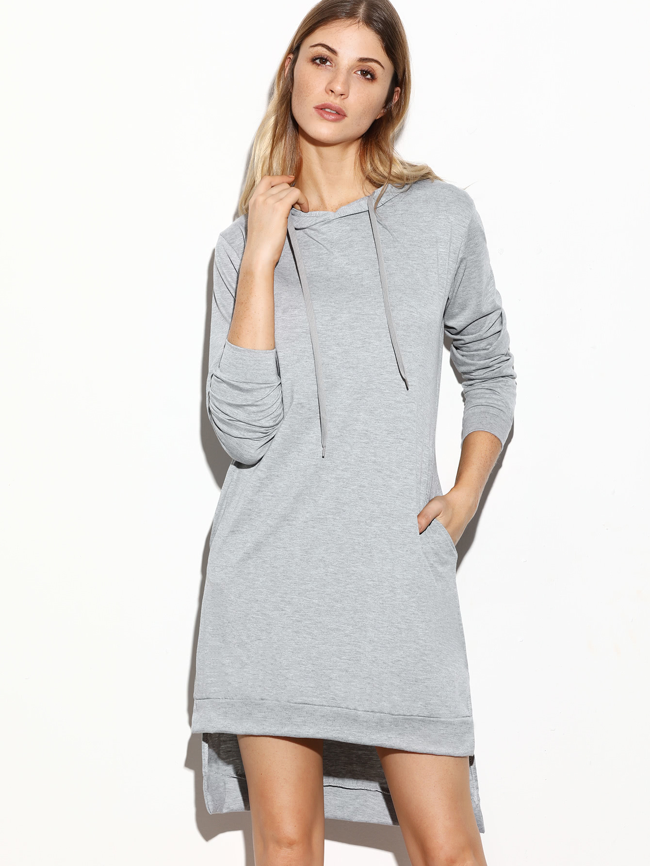 Sweatshirt Kleid mit Kapuzen Seit Schlitz Vorne Kurz Hinten Lang-grau
