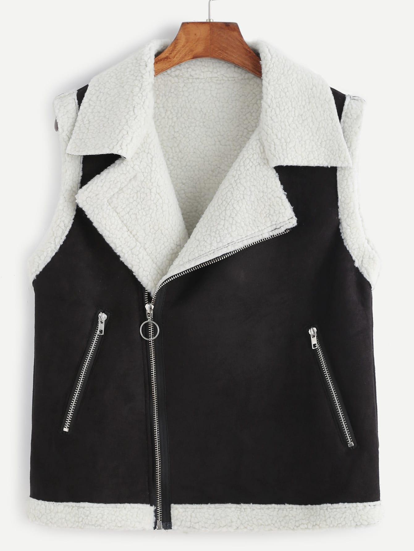 gilet en laine avec zip oblique noir french romwe. Black Bedroom Furniture Sets. Home Design Ideas