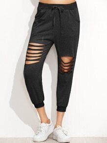 Black Ladder Cut Out Drawstring Pants