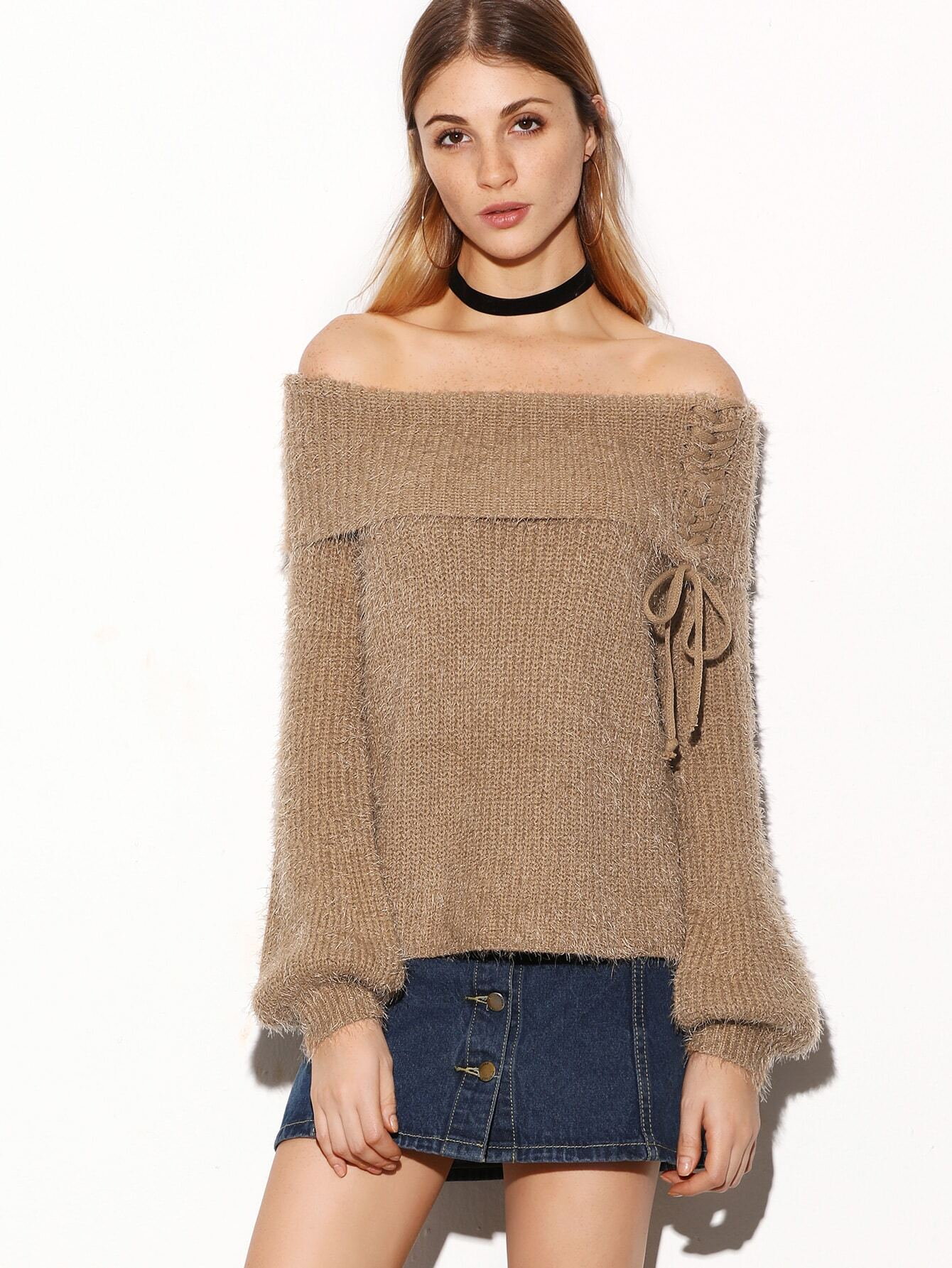 Off The Shoulder Lace Up Foldover Fuzzy Sweater