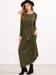 Vestido cintura elástica maxi - verde militar