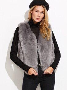 Grey Faux Fur Vest Coat