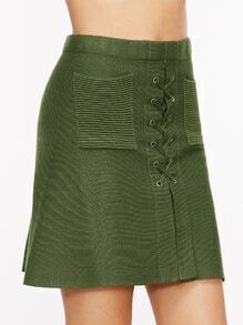 Army Green Lace Up Knit Skirt With Pockets