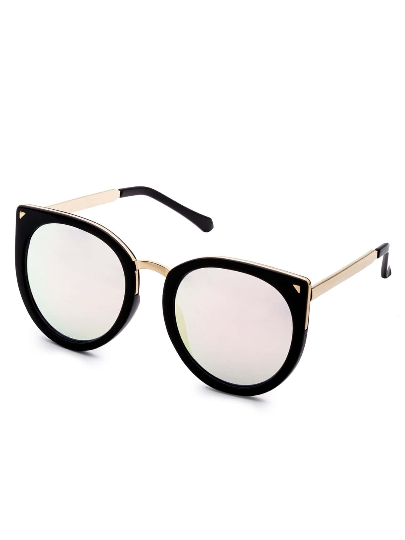 Black Metal Trim Pink Lens Cat Eye Sunglasses