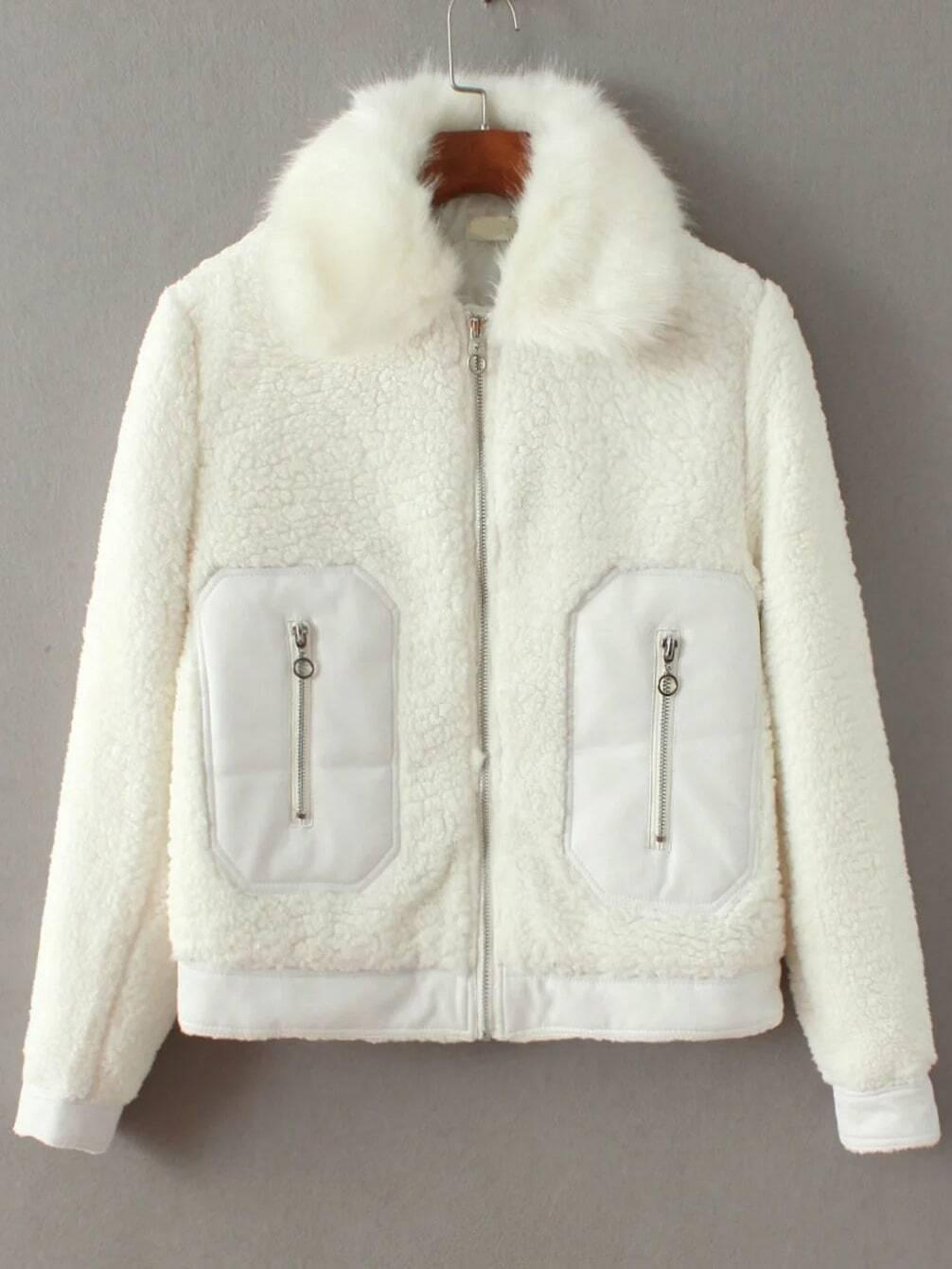 Manteau en tonte faux avec zip blanc french romwe for Tonte