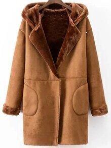 Abrigo con capucha y tachuelas con forro de piel sintética - kaki