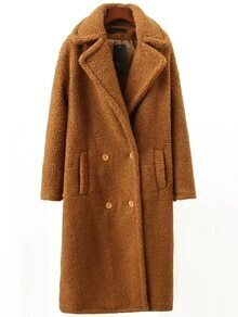 Camel Lapel Double Breasted Long Coat