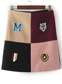 Patchwork Embroidery Side Zipper Skirt