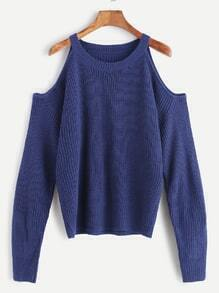 Jersey de punto con hombro abierto - azul oscuro