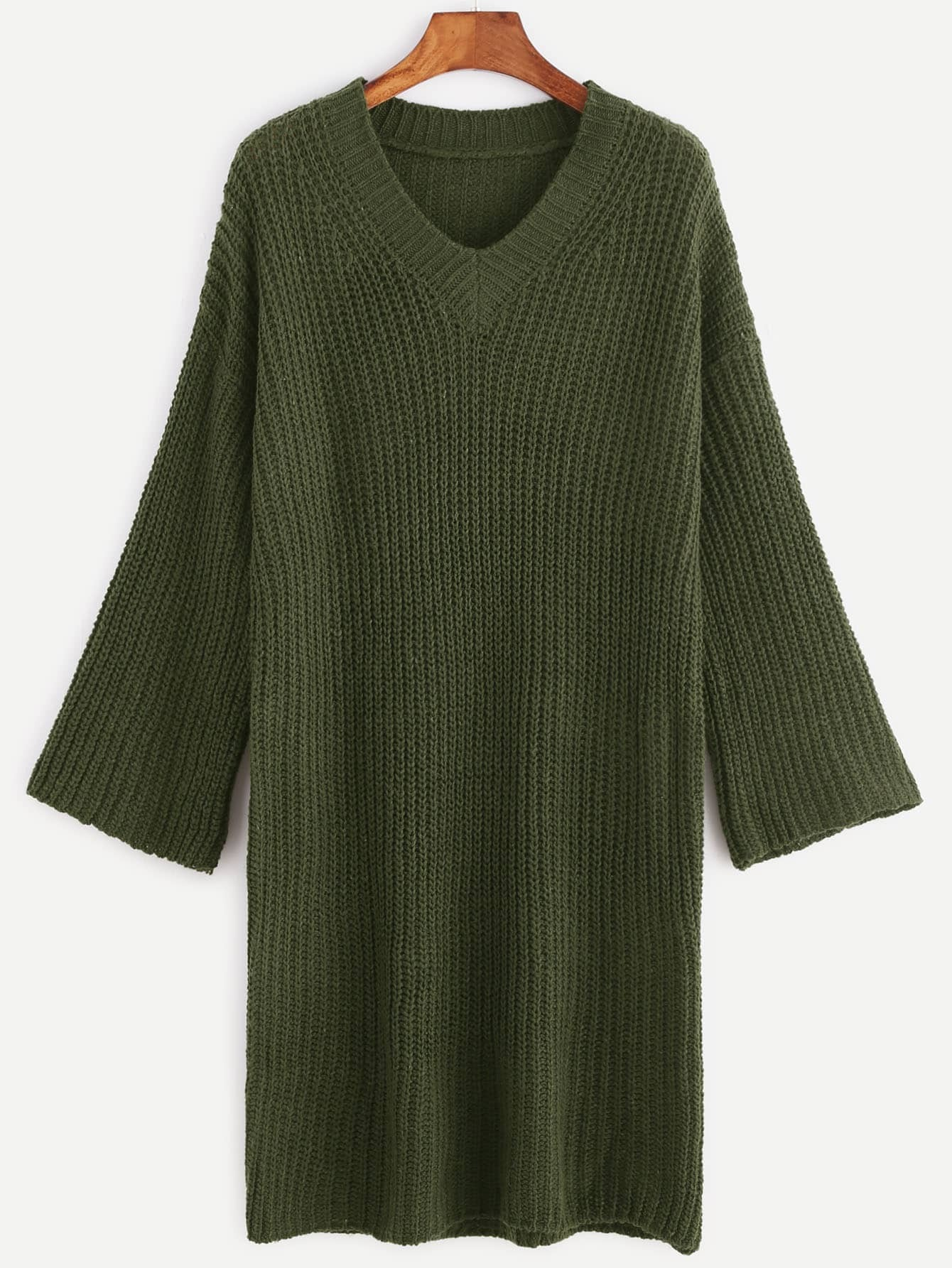 Army Green V Neck Dropped Shoulder Seam Sweater Dress RDRE161107001
