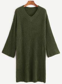 Army Green V Neck Dropped Shoulder Seam Sweater Dress