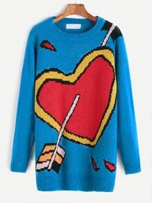 Blue Heart Pattern Sweater Dress