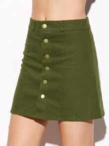 Army Green Single Breasted Denim A Line Skirt
