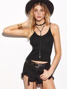Black Ribbed Knit Tight Cami Top