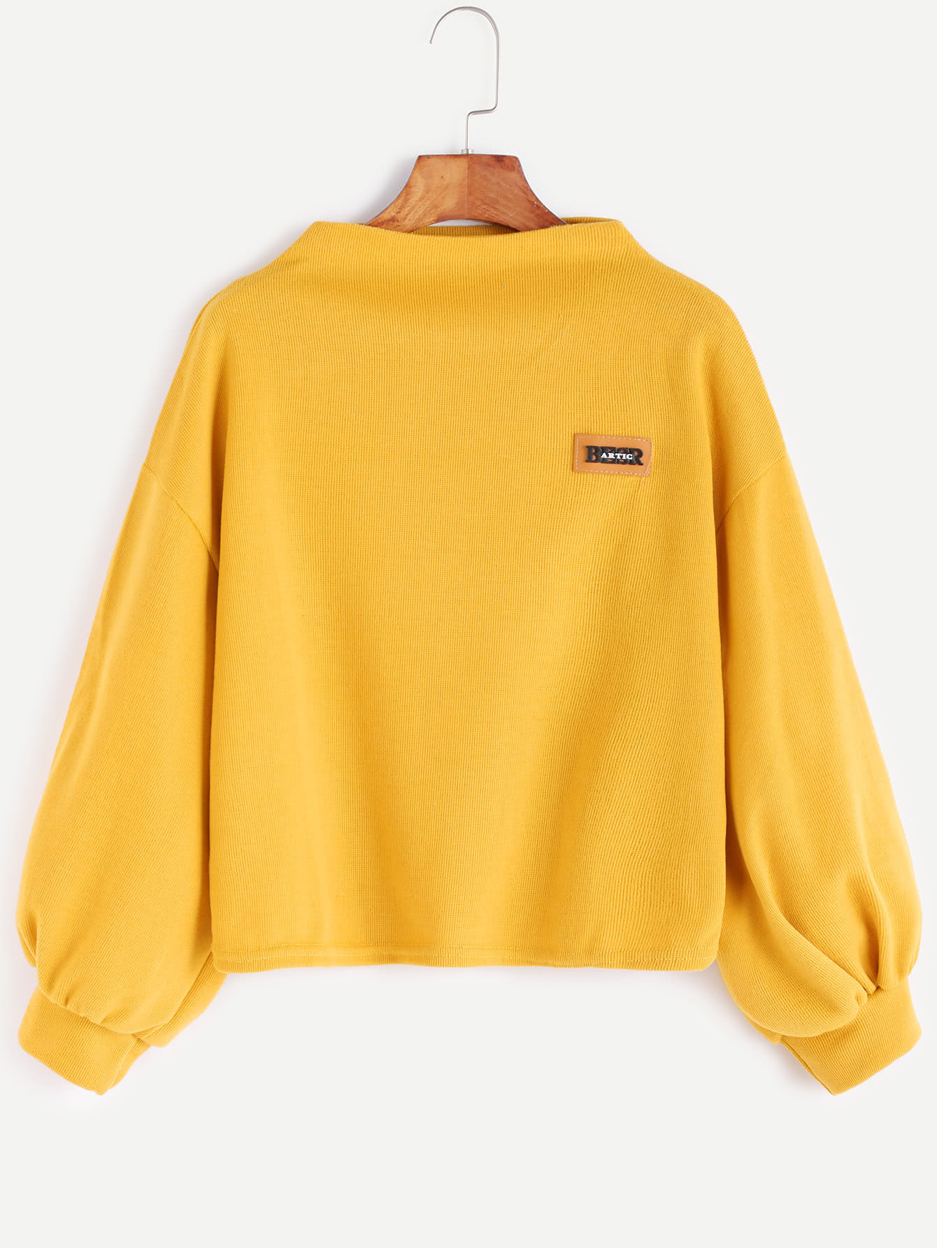 Yellow Funnel Neck Drop Shoulder Lantern Sleeve Patch Sweatshirt