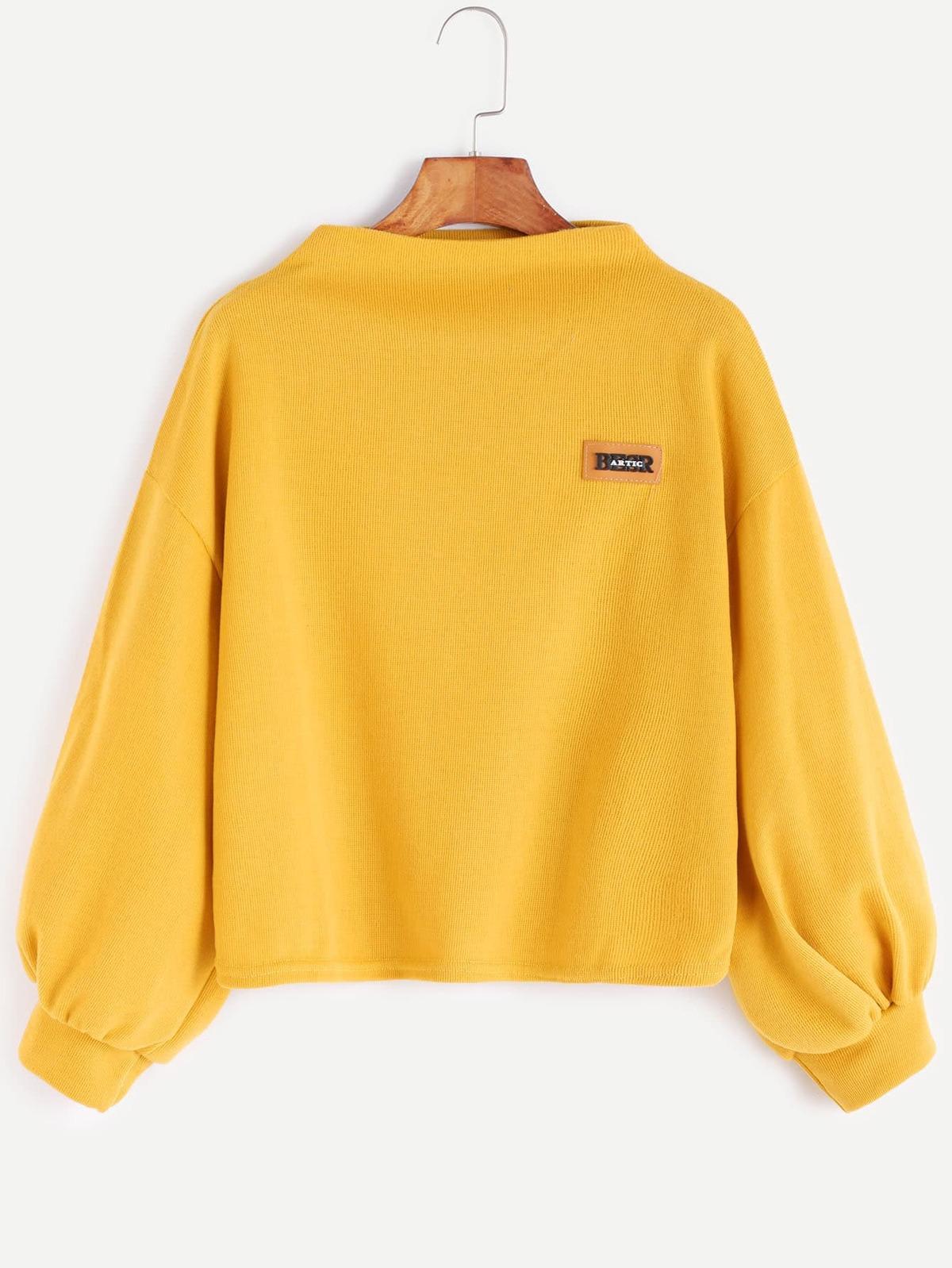 黃色  漏斗 領/脖子 落肩 燈籠袖 貼片 T恤衫