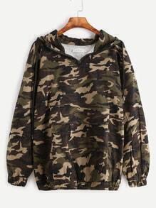 Camo Print Zip Detail Drawstring Hooded Pocket Sweatshirt